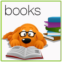 Yellow dog wearing glasses, reading a book, text reads books