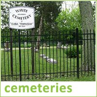 Photograph of gates into White Cemetery in Cuba Township, text reads cemeteries