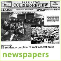 Newspaper headline from old Barrington Courier issue, cover story about opening of Poplar Creek Music Center, text reads newspapers