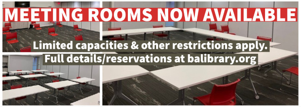 Meeting Rooms are now available to BALibrary cardholders