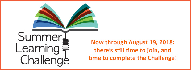 Summer Learning Challenge, May 29 through August 19, details at balibrary.org Image of multicolored book pages